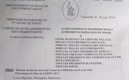 Réunion du Bureau Exécutif Central du CODEGBA du 05 Août 2018, Présentation du bilan du Lemoû 2017
