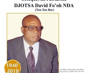 Avis de décès et programme des obsèques du Patriarche DJOTSA David Fo'oh Nda (Tont-Ton Bar)