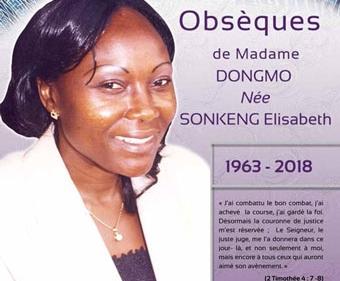 Avis de décès et programme des obsèques de Mme DONGMO née SONKENG Elisabeth