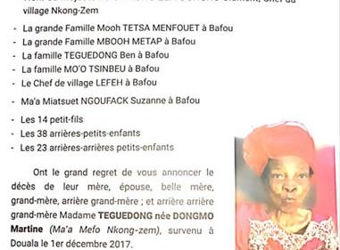 Avis de décès et programme des obsèques de Maman Teguedong née Dongmo Martine (Ma'a Mefo Nkong-Zem)