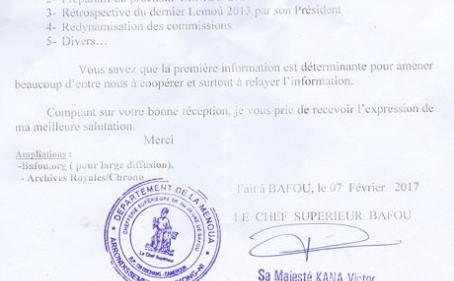 Invitation : le Roi des Bafou, Na'ah-temah Fo'o Ndong Megang vous invite le 10 Août 2019