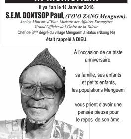 In Memoriam : S.E. M. DONTSOP Paul, (Fo'o Zang Menguem)