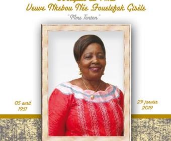 Avis de décès et programme des obsèques de Mme veuve NKEBOU née FOUELEFAK Gisèle