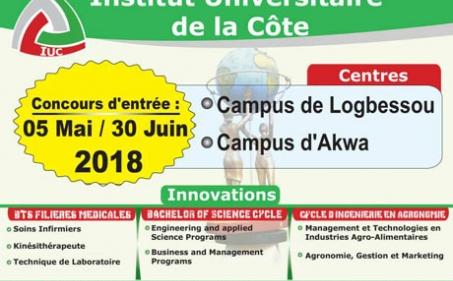 Avis du concours d'entrée à l'IUC : le 05 mai et 30 Juin 2018.