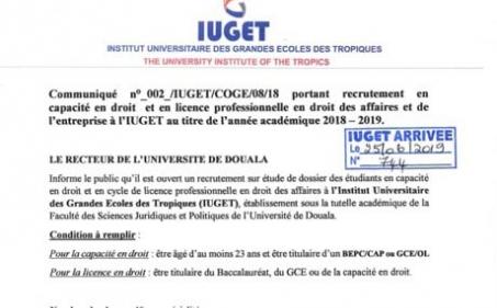 Communiqué : Recrutement en capacité en droit et Licence professionnelle en droit des affaires et conseil d'entreprise à l'IUGET