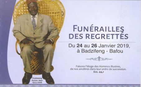 Faire-part funérailles des regrettés Kuetezang GUIMO Jean et autres