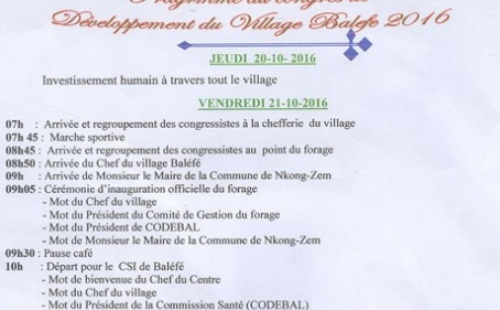 Programme du Congrès de Développement du Village Balefê 2016