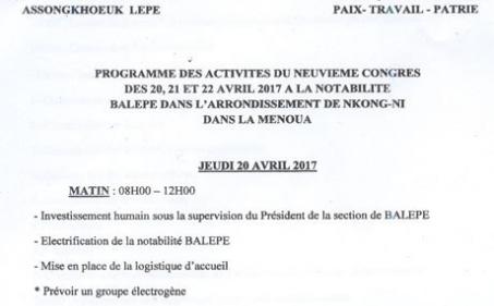 Comité de Développement ASSONGKHOEUK LEPE : Invitation et programme du 9e congrès