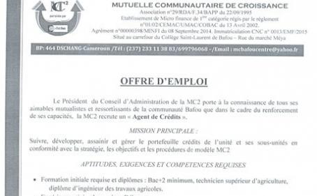 MC2 de Bafou : Offre d'emploi