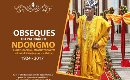 Avis de décès et programme des obsèques du Patriarche Ndongmo André Joachim - Mo'oh Tedonkem dit « André Madjounga », « Maitre »