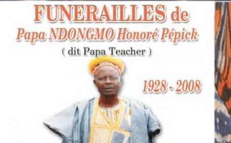 Faire-part des funérailles de Papa NDONGMO Honoré Pépick dit