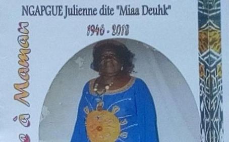 Avis de décès et programme des obsèques de Maman NGAPGUE Julienne épse KEMGENG Jean dit « Miaa Deuhk »