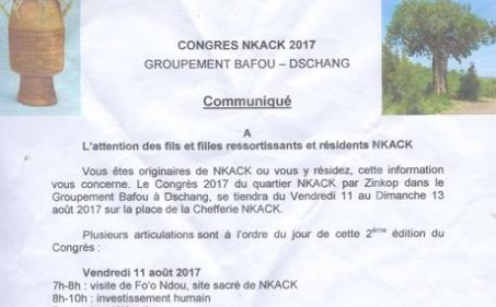 Congrès Nkack 2017 : à l'attention des fils et filles ressortissants et résidents Nkack