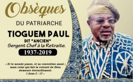 Avis de décès et programme des obsèques du Sergent Chef à la Retraite TIOGUEM Paul dit