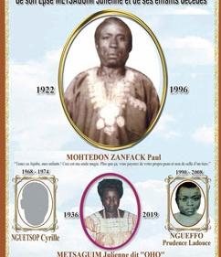 Faire-part funérailles de Mohtedon ZANFACK Paul, de son épse METSAGUIM Julienne et de ses enfants décédés