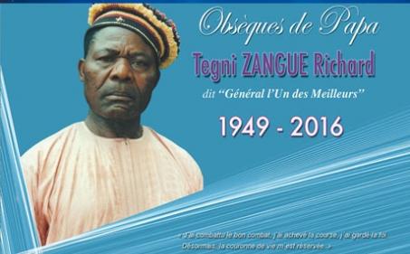 Avis de décès et programme des obsèques de Papa Tegni ZANGUE Richard dit