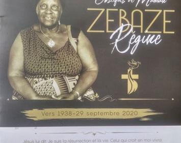 Avis de décès et programme des obsèques de Maman ZEBAZE Régine