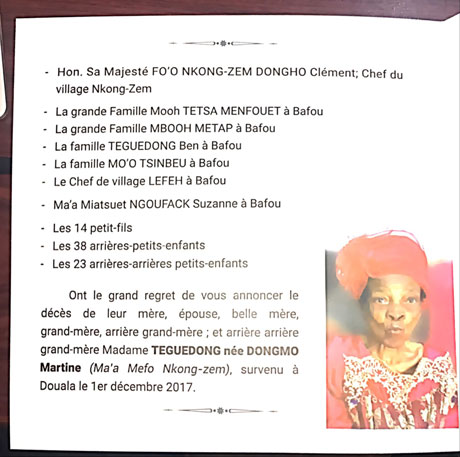 Maman Teguedong née Dongmo Martine (Ma'a Mefo Nkong-Zem)